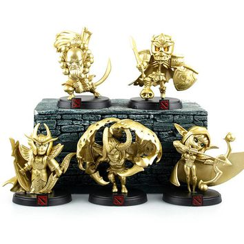 5pcs/lot Dota 2 figurines hero toy Ynrnero Jugg 2016 New Gold limited edition Dota 2 action figure game doll party supply decor
