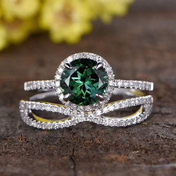 7mm round cut natural green tourmaline engagement ring set,14k white gold wedding band,2pcs bridal ring set,split shank diamond wedding band