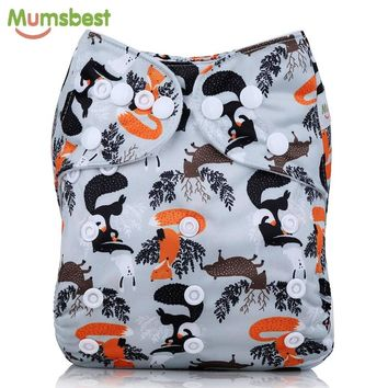 [Mumsbest] 2017 New Arrival Baby Cloth Diaper Cover Waterproof Cartoon Fox Baby Washable Diapers Pocket Reusable Cloth Nappies