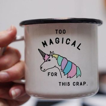 Too Magical For This Crap Unicorn Enamel Mug