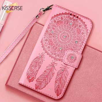 KISSCASE Case For iPhone X 8 7 6 6S Plus 5 5S Flip Leather Campanula Cover For Samsung Galaxy S8 Plus S6 S7 Edge Glitter Shells