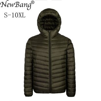 NewBang Brand Plus 7XL 8XL 9XL 10XL Down Coat Male Large Size Ultra Light Down Jacket Men Lightweigh Warm Coat Feather Parka