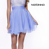 Short Strapless Sweetheart Sweet 16 Dress Periwinkle Lace Bodice