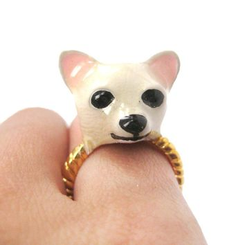 3D Chihuahua Dog Face Shaped Enamel Animal Ring in White | Limited Edition Jewelry