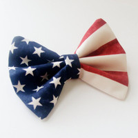 Hair Bow Vintage Inspired American Flag Clip Rockabilly Pin up Teen Woman Girl Fourth of July
