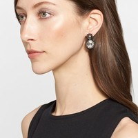 Women's St. John Collection Glass Pearl & Octagonal Crystal Earrings - Gunmetal/ Crystal/ Grey Pearl
