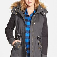 Women's GUESS Two-Tone Parka with Faux Shearling & Faux Fur Trim ,