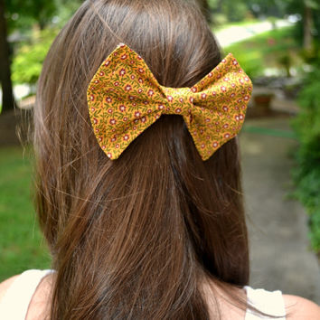 Mustard, Olive, and Mauve Floral Bow