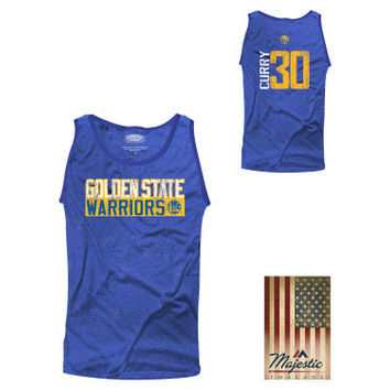 Golden State Warriors NBA Men's Vertical Name and Number Tank - Stephen Curry