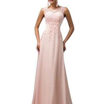 Grace Karin® Women V-Back Beads Long Gown Evening Prom Dress CL7555