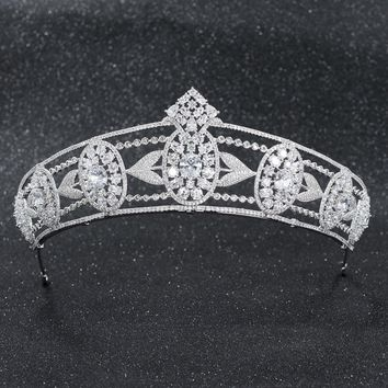 CZ Cubic Zirconia Wedding Bridal Wheat Tiara Diadem Crown Women Prom Hair Jewelry Accessories