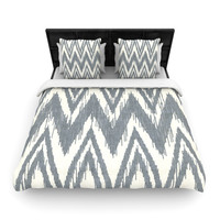 "Heidi Jennings ""Tribal Chevron Gray"" Woven Duvet Cover"