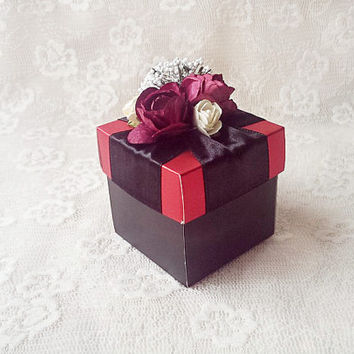 black and red favor box with burgundy and ivory color paper flowers, wedding, bridal shower, baby shower, bridesmaid gift box, candy box.
