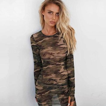 Camouflage Sexy See Through One Piece Dress [212256423962]