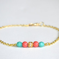 Coral, Aqua, and Gold Anklet - Simple Couture
