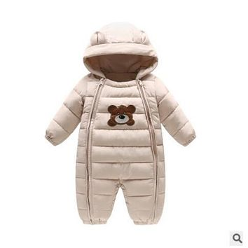 Newborn Baby Winter Rompers Kids Warm Snowsuit Duck Down Windproof Sportset Cartoon Boys Girls Clothing Thcik Hooded Costume
