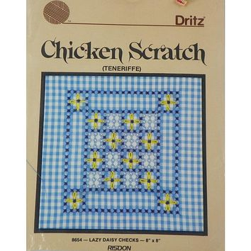 Lazy Daisy Checks Chicken Scratch Decorative Pillow - Counted Cross Stitch Kit