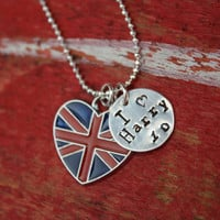 I love Harry Styles One Direction  British Flag Charm Necklace Pendant