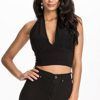 V-neck Halter Shirred Cropped Top