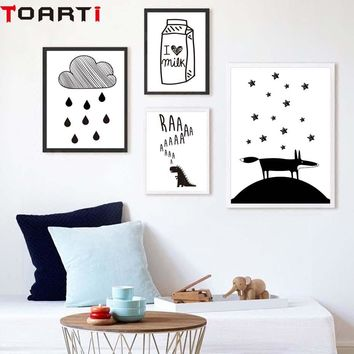 Milk Cloud Dinosaur Cartoon Poster Black White Modern Canvas Painting Wall Art Prints Modular Wall Picture For Children Bedroom