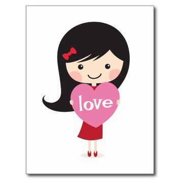 Little girl with love heart postcard