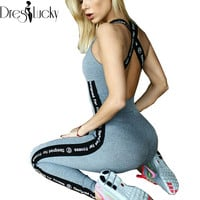 Casual Athleisure bodycon jumpsuit fitness sexy bodysuit women sleeveless catsuit spliced print 2017 overalls pants rompers sale