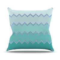 "Monika Strigel ""Avalon Mint Ombre"" Aqua Green Outdoor Throw Pillow"