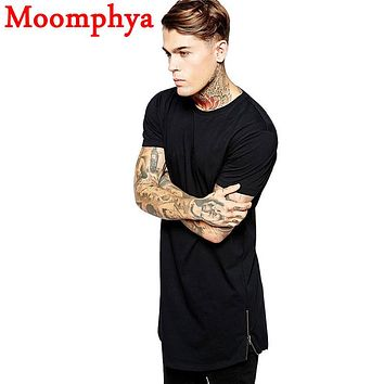 2016 Long Size Black Mens Tops T Shirt Short Sleeve Casual T-Shirt With Zip Hip Hop Sale T Shirt Fashion street-wear Shirt dance