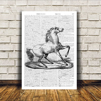 Animal art Dictionary print Modern decor Horse poster RTA391