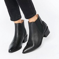 Selected Femme Lena Black Leather Grained Ankle Boots at asos.com