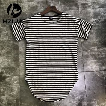 HZIJUE streetwear kpop hiphop clothes red white striped curved hem tee longline t shirts couples matching clothing justin bieber
