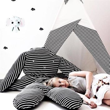 INS Cotton Rabbit Play Mat Black and white Striped Children Crawling Blanket Kids Rug  Baby Sleeping Pillow Children Room Decor