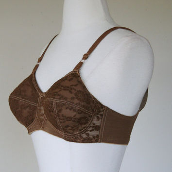 1960's brown padded bra, pointed conical cone lace bra, 34 B, wire free bra