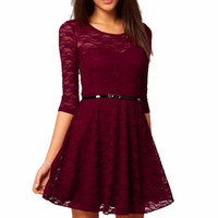 2016 New Candy Color Elegant Lace Dress For Women Women Dresses Plus Size Fashion Lady Winter Dresses
