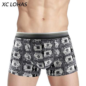 Best Sell Fashion Silk Underwear Men Lovely Cartoon Print Man Boxers Homme Comfortable Underpants Soft Breathable Male Panties