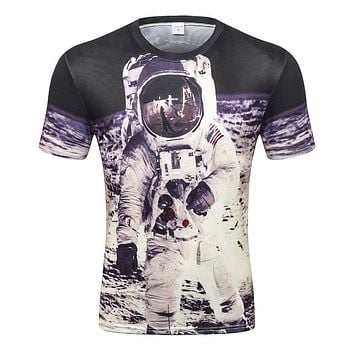 Space t-shirt for men 3 d funny print great Astronaut on the Moon summer tops tees creative t shirt  D-80