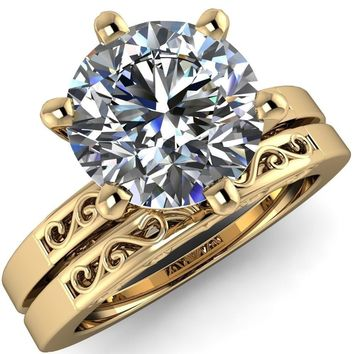 Eliza Round Moissanite Filigree Hollowed Quarter Band 6 Prong Serenade Solitaire Engagement Ring