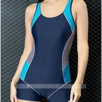 Chicloth Color Splice Cut Out Padding Bathing Suit Swimsuits Women One-Piece Swimwear
