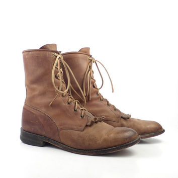 Roper Boots Vintage 1980s Justin  Distressed Brown Lace up  Women's size 8