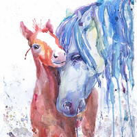 Horse with foal, wildlife,  watercolor, colt  wall decor,  animal art, art print