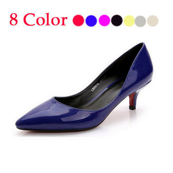 2015 33-41 Cute Low Heel Shoes for women Gold Pumps Sliver White Nude Black Pointed Toe Wedding Shoes High Heels Women Pumps