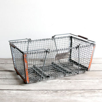 vintage wire egg carrying basket by lacklusterco on Etsy