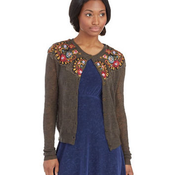 Free People Embroidered Lady Cardigan