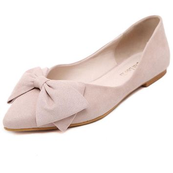 Korean Lady Ballet Flats 2017 Sweet Bow Pointy Toe Women's Flats Solid Flock Ballerina