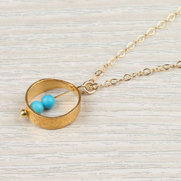 "Gold ring necklace, turquoise circle necklace, bridal necklace, 14k gold filled, everyday simple necklace, delicate,""Rhode"" Necklace"