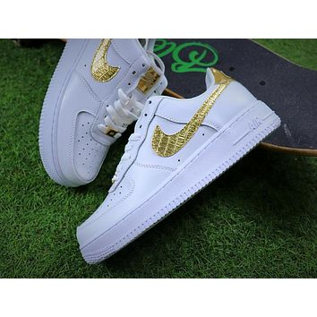 Tagre™ Best Online Sale Nike Air Force 1 Low CR7 Gold White Sport Shoes Sneaker