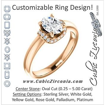 Cubic Zirconia Engagement Ring- The Jennifer Elena (Customizable Oval Cut featuring Saddle-shaped Under Halo)