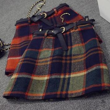 Autumn High Waisted Cashmere Plaid Skirt