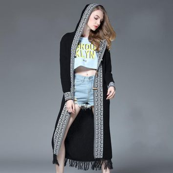 Women's Print Knitted Tassel Hooded Long Wrap Coat