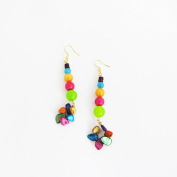 Boho colorful dangle earrings. Funky party earrings. Long earrings